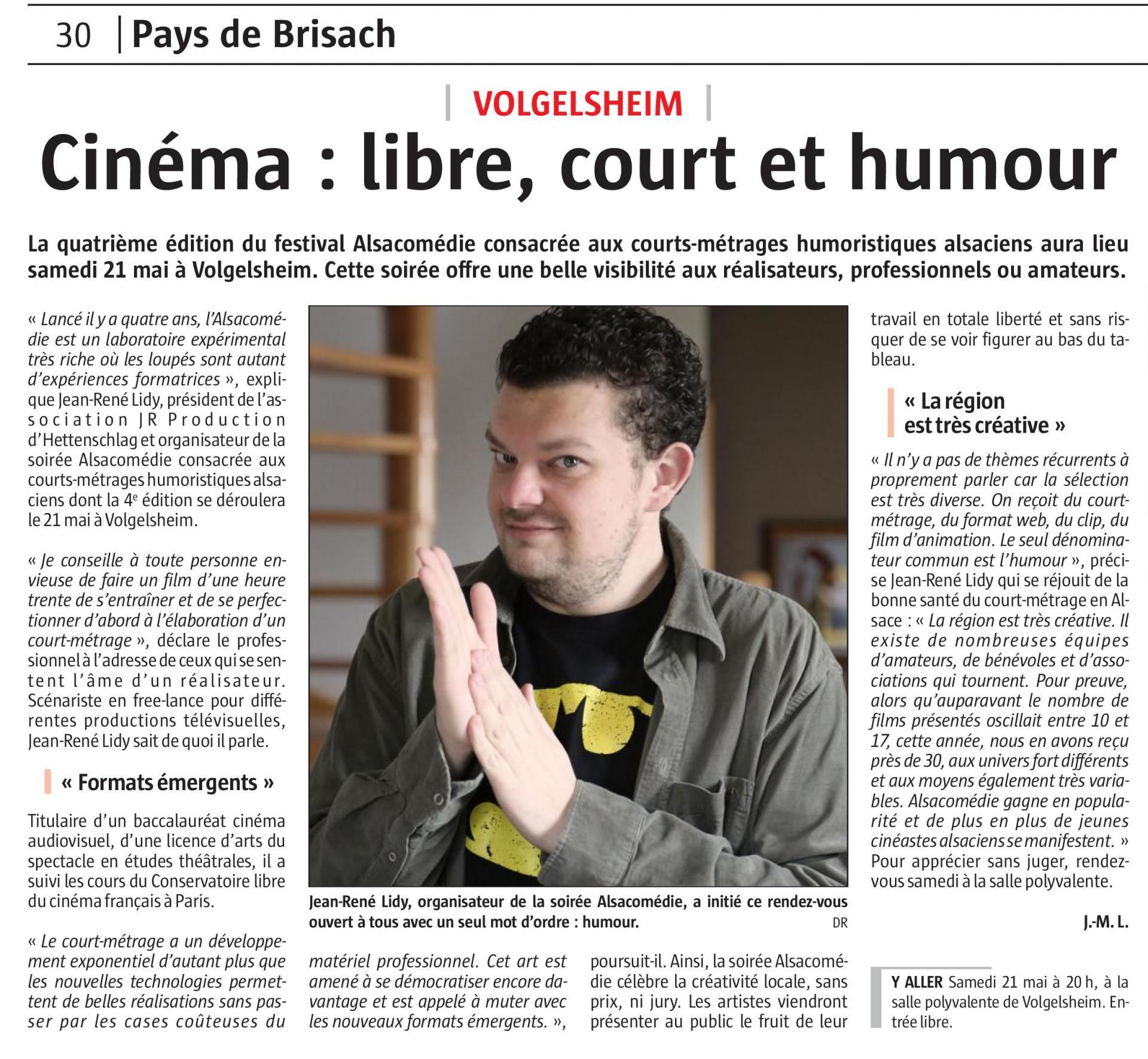 Journal L'ALSACE - 20 mai 2016